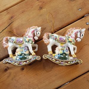 🎄Pair of vintage glass horse carousel ornaments
